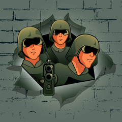 Fotorolgordijn Militair Soldiers break through the bricks wall