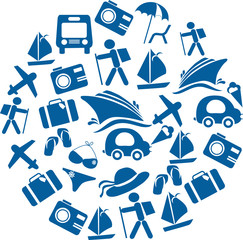 traveling and transportation icon set