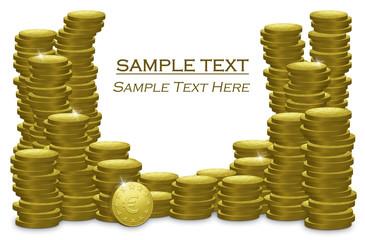 Piles Of Golden Euro Coins