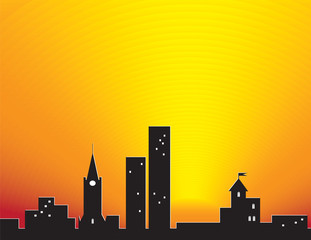 City silhouette over sunset. Abstract illustration.