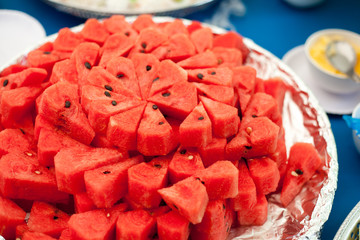 red watermelon on dish