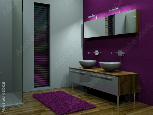 """3d rendering bad mit lila wand"""" stock photo and royalty-free, Hause ideen"""