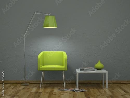 3d rendering gr ner stuhl vor grauer wand stockfotos und lizenzfreie bilder auf. Black Bedroom Furniture Sets. Home Design Ideas