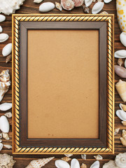 Photo gold frame and sea shells on wood background