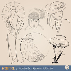 elegant vintage fashion illustrations and sketch