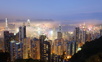 Hong Kong at foggy evening. View from The Peak