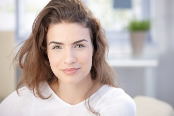 Morning portrait of attractive smiling girl