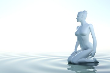 Wall Mural - Zen woman in water with white background