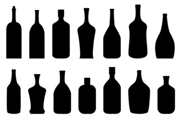 Alcohol bottles in black