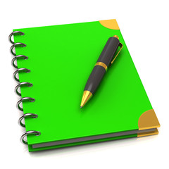 Green Notebook and pen