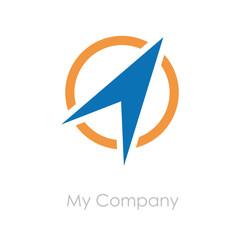Logo arrow on the circle, compass # Vector