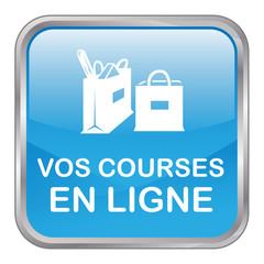 """Bouton Web """"VOS COURSES EN LIGNE"""" (e-shopping e-commerce achats)"""