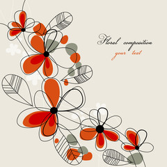 Spoed Fotobehang Abstract bloemen Cute red flowers background
