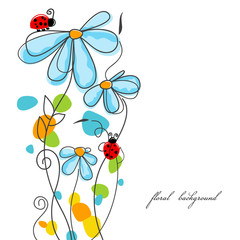 Fotobehang Abstract bloemen Flowers and ladybugs love story