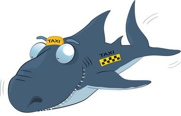 Shark of a taxi. Cartoon