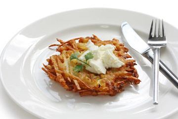 potato pancake with sour cream