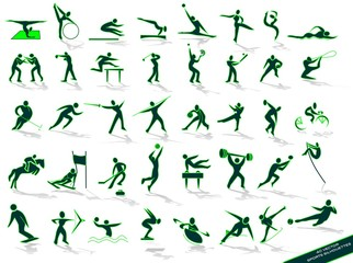 Sporting green silhouettes, in vector
