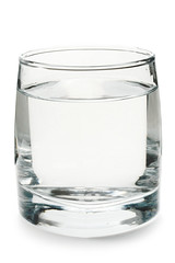 Glass of water on white background