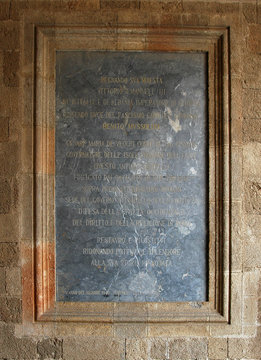 Palais des Grands Maîtres - Dédicace à Benito Mussolini