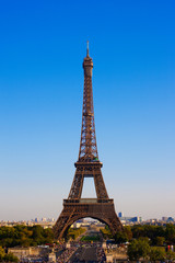 Eiffel Tower in Paris, France on a background of the blue sky
