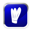 toque chef de cuisine sur bouton carré bleu
