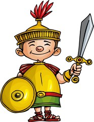 Cartoon Roman legionary with sword and shield