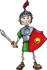 Spoed Fotobehang Ridders Cartoon Roman legionary with sword and shield