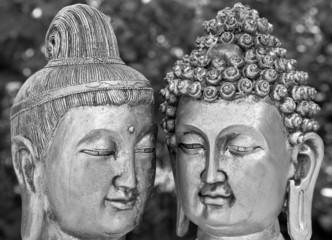 bouddhas en noir et blanc
