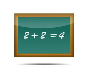 Icono 3d pizarra escolar texto 2 + 2 = 4