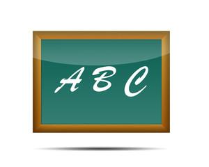 Icono 3d pizarra escolar texto ABC