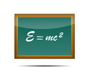 Icono 3d pizarra escolar texto E=mc2