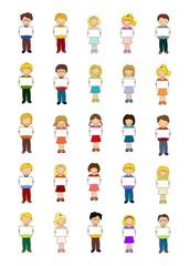 niños con papel para texto o nombre