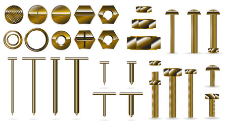 set of gold screws and nails isolated on white background