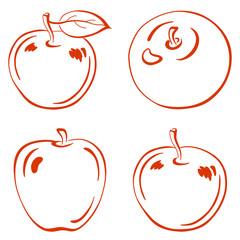 Fruits, outline apples