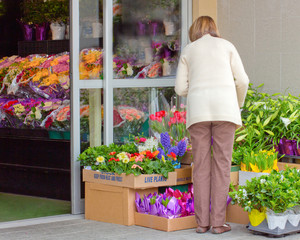 Woman Shopping for Flowers and Plants