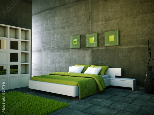 schlafzimmer gr n mit betonwand stockfotos und. Black Bedroom Furniture Sets. Home Design Ideas