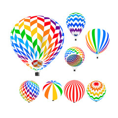 Parachute set, vector illustration,