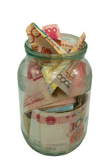 glass jar with the money