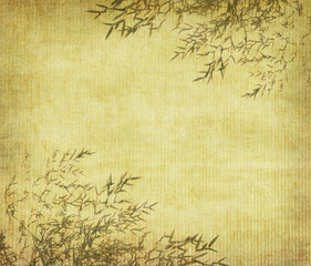 Silhouette of branches of a bamboo on paper background .