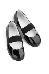 Black shine leather girl shoes