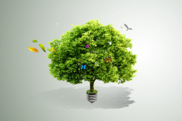 green tree growing out of a bulb