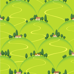 Spoed Fotobehang Op straat landscape country house on hill vector seamless background