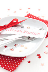 Tischgedeck zu Weihnachten