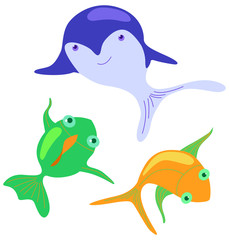 The illustration with cartoon fishes