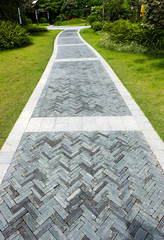 curve brick path in garden
