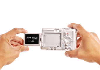 Male Hands Taking a Photograph with Digital Camera