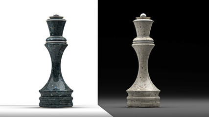 stone Queen chess isolated 3d render