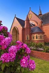 Fairytale church, with rhododendrons