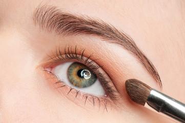 Beautiful young adult woman applying cosmetic shadow brush