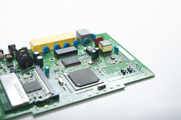 Close-up view of a computer board